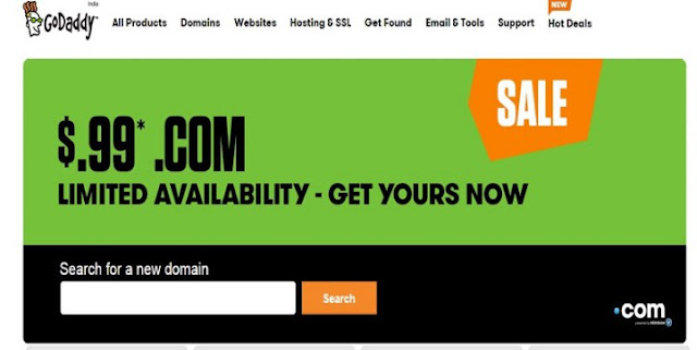 Limited Time offer: Buy Godaddy .com domain names at $0.99 for one year