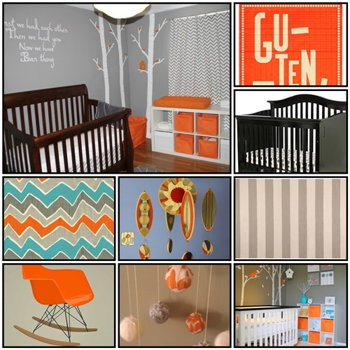 baby boy nursery gray orange