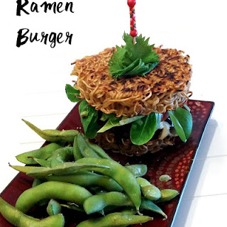 Ramen Burger with Teriyaki Sauce.