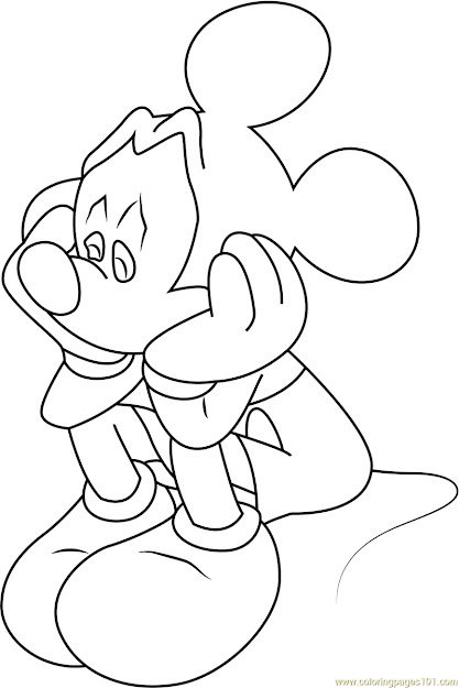 Sad Mickey Mouse Coloring Page