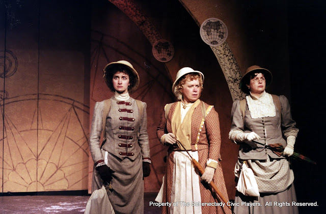 Eileen McCashion, Christine Boice Saplin and Rita Russell in ON THE VERGE - January/February 2000.  Property of The Schenectady Civic Players Theater Archive.