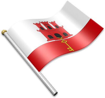 The Gibraltar flag on a flagpole clipart image