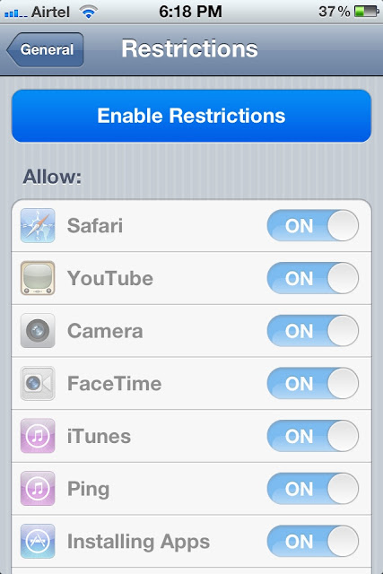 enable restriction in iphone or ipad