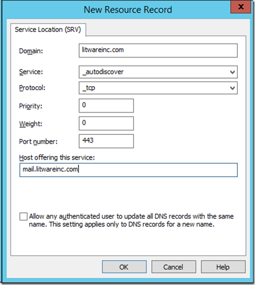 Exchange 2013, 2016 – Autodiscover SRV record – communication