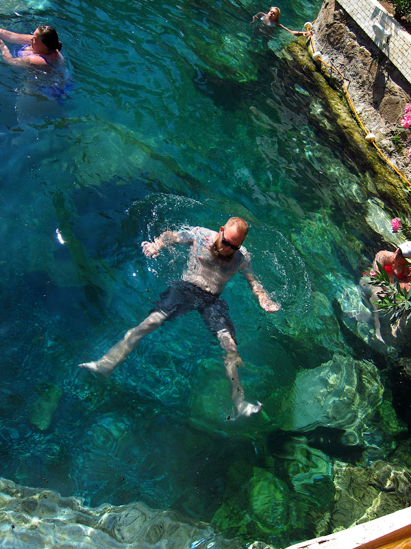 Tony floating in Cleopatra's pool