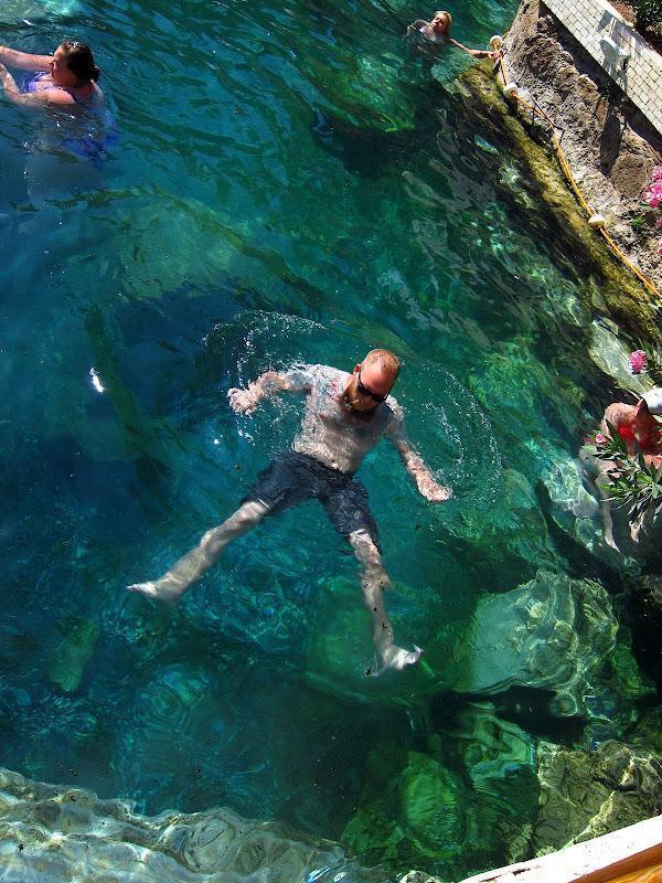 Tony floating in Cleopatra's pool