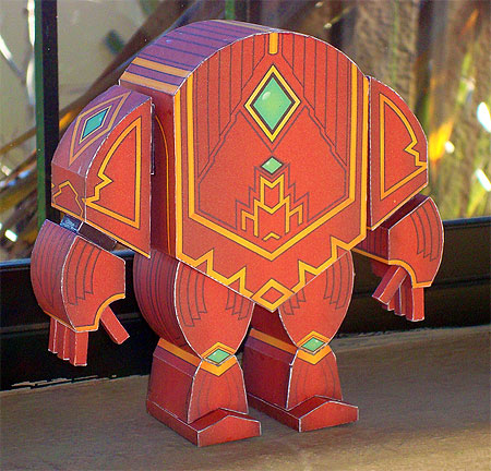 Red Servitor Golem Paper Toy
