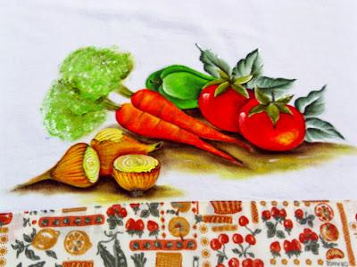 pintura tomates cenouras e cebolas
