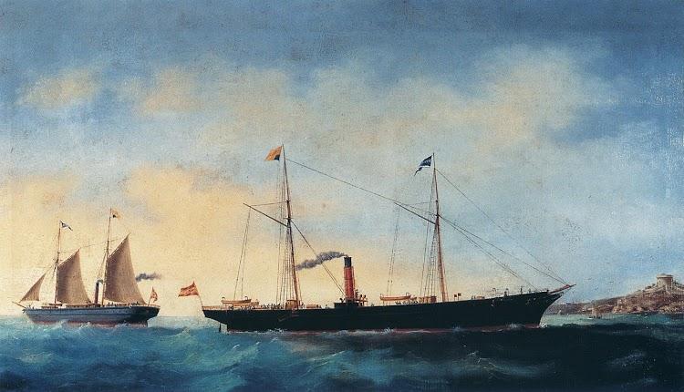 Los vapores MAHONES – al fondo- y MENORCA. Óleo de D. Juan Font. 1877. Museu Maritim de Barcelona. Del libro, Los Grandes Puertos de las Baleares.jpg