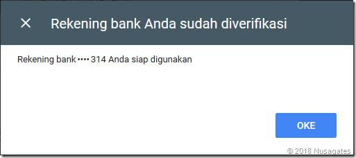 Verifikasi rekening bank untuk metode pembayaran AdSense berhasil