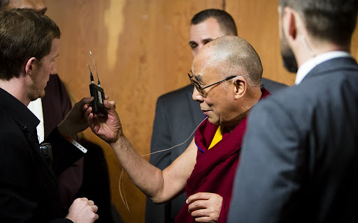 His Holiness before the press conference for the Dalai Lama Environmental Summit hosted by Maitripa College, Portland, Oregon, U.S., May 11, 2013. Photo by Leah Nash.