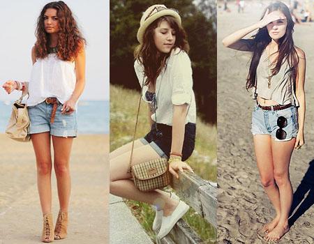 Looks de praia com shorts jeans