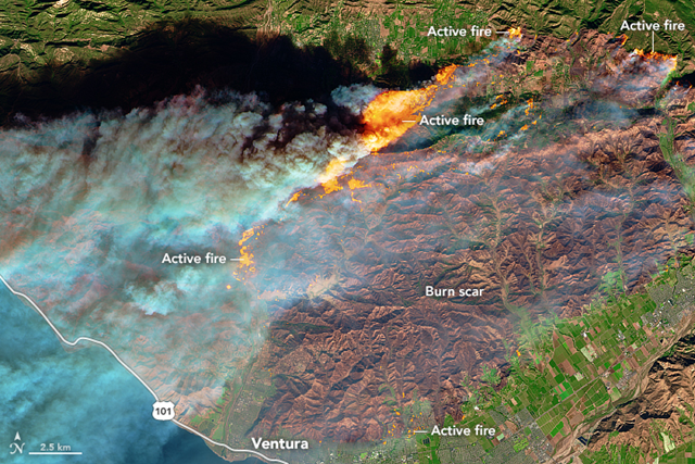 The Multi Spectral Imager (MSI) on the European Space Agency's Sentinel-2 satellite captured a false-color image of the burn scar from several fires in southern California on 5 December 2017. Active fires appear orange; the burn scar is brown. Unburned vegetation is green; developed areas are gray. The Sentinel-2 image is based on observations of visible, shortwave infrared, and near infrared light. Photo: Joshua Stevens / NASA Earth Observatory