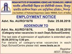IIEST employment notice 2018 www.indgovtjobs.in