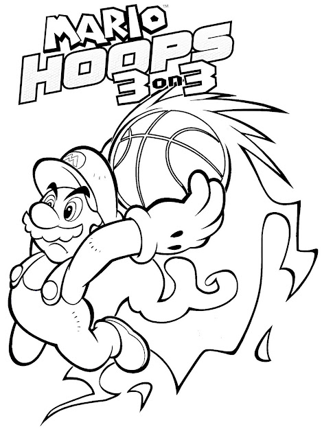 Super Mario  Fire Basketball Coloring Page For Boys