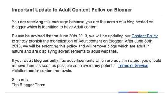 Blogger pornographische Werbung