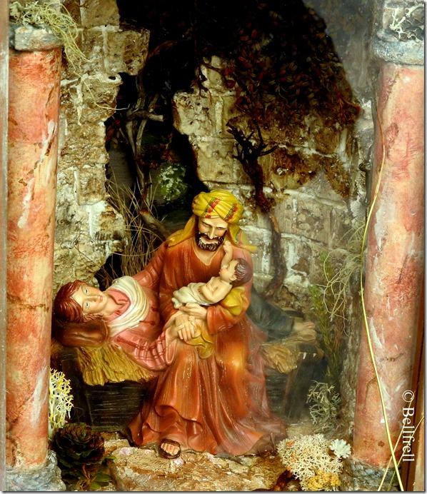 Jesus in Josephs Armen Maria liegend