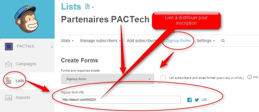Mailchimp Lien public  Drupal NewsLetter Emailing ExpertE Formation RougeOrangeVert