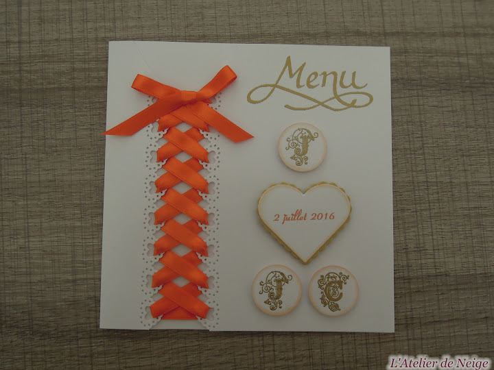 379 - Menu Mariage  Joëlle et Jean-Claude 2 juillet 2016
