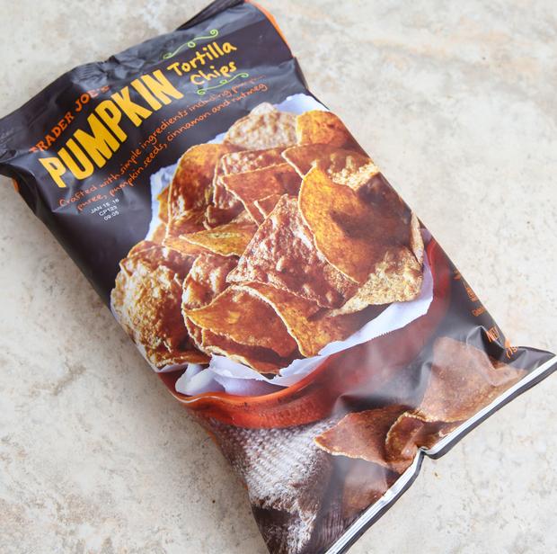 overhead photo of a bag of Pumpkin Tortilla Chips