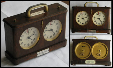 Photo: An HAC clock that appeared for sale on eBay, February 2011 - ultimately realizing £442 - far in excess of the normal going rate for such clocks (the last , in good condition, seen raised £39 ).  The differences? Well, the clock has a handy carry-handle added plus inscription plates for Blackpool Chess Club (top) and a presentation dated 1938 (front, bottom), but it seems unlikely that these would account for such a high price.   The real 'culprit' is surely the small ivorine ( a form of plastic that tried to emulate ivory) plaque on the back as seen in the lower right image - showing the clock was sold by Jaques.  These are nice clocks - I have one ( neither badged nor customized) - but can the addition of a small plastic badge be worth nearly £400?     HAC in Germany did not make complete clocks, simply supplying their clockworks for others to include in the finished article;  it is even doubtful whether Jaques cased the clocks - as identical HAC-cased clocks are found without any sign of a Jaques branding.