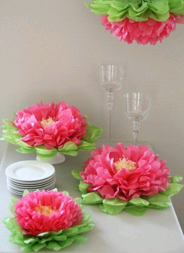 Como Hacer Flores De Papel De Seda Para Una Mesa De Fiesta