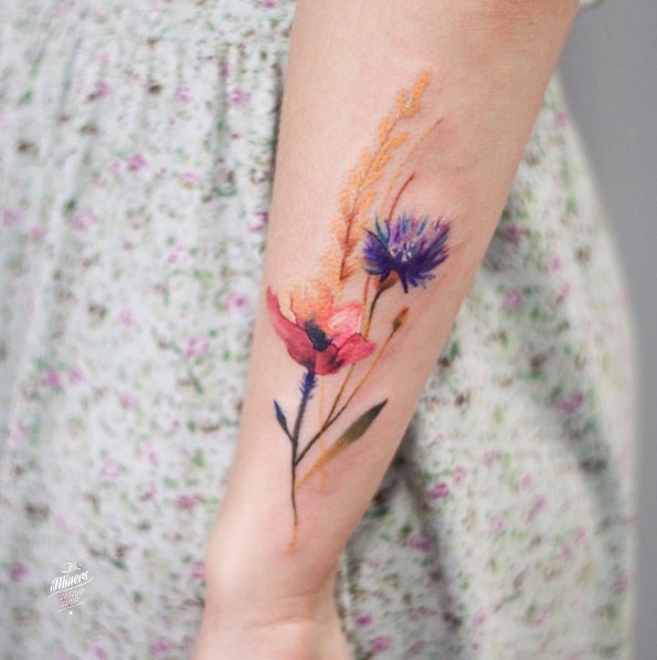 Estas flores em aquarela