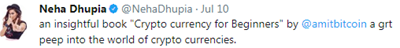 NEha Dhupia  promoting bitcoin and cryptocurrency