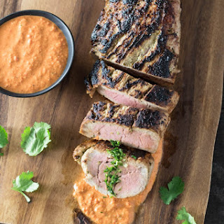 Marinated Pork Tenderloin with Romesco Sauce & Cilantro-Lime Gremolata