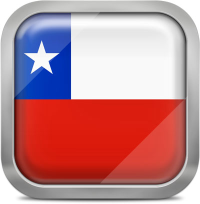 Chile square flag with metallic frame