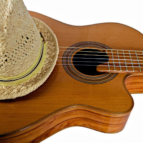 Cuban by Kim Wilson - Artistic Objects Musical Instruments ( studio, interior, photograph, musical, wood, indoor, straw, still life, nylon, image, object, instrument, classical, horizontal, acoustic, guitar, fedora )