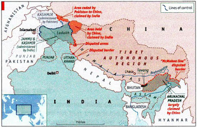 The disputed area over indo china border