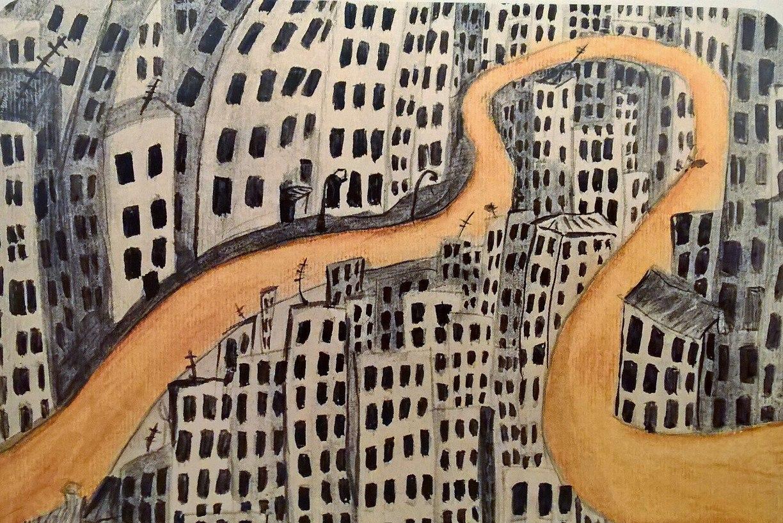 Карта из колоды метафорических карт Дорога: дорога в городе