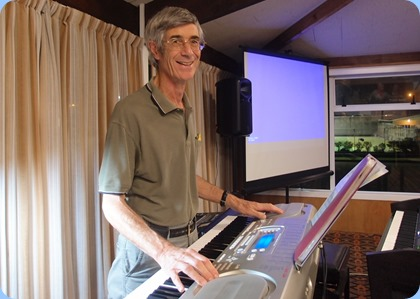 New member, Linus Treefoot, making his debut on his Casio WK3800. Photo courtesy of Dennis Lyons.