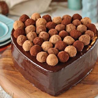 Truffle-Topped Heart Cake.