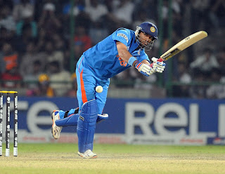 Yuvraj Singh plays shots to leg side during his unbeaten 50 innings, India v Netherlands, Group B, World Cup, Delhi, March 9, 2011
