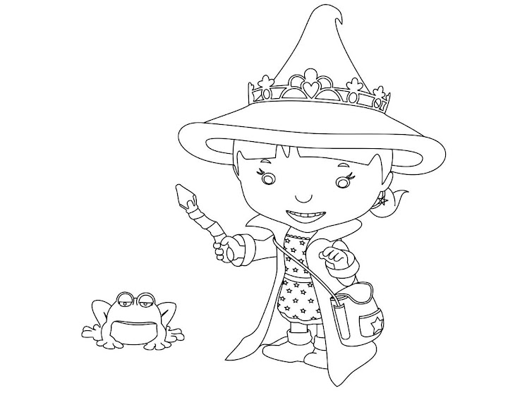 Evie the Wizard from Mike the Knight Coloring Page