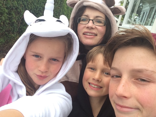 In our Onesies, heading on for fish n chips on Christmas Eve