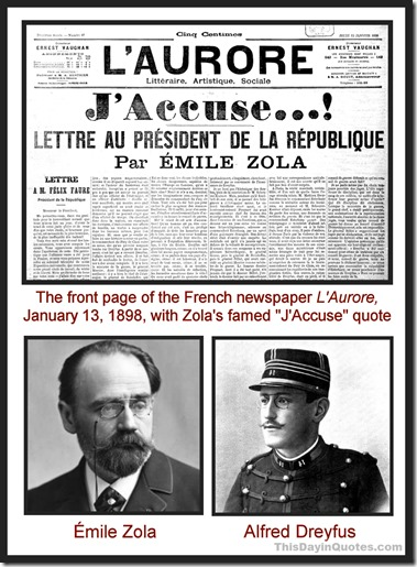 J'Accuse quote, Emile Zola, Alfred Dreyfus