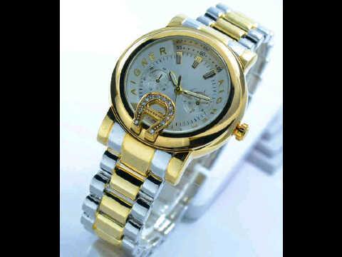 Jual jam tangan Aigner date ring polos chrono variasi silver kombi gold