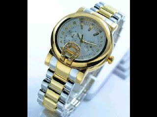 jam tangan Aigner date ring polos chrono variasi silver kombi gold