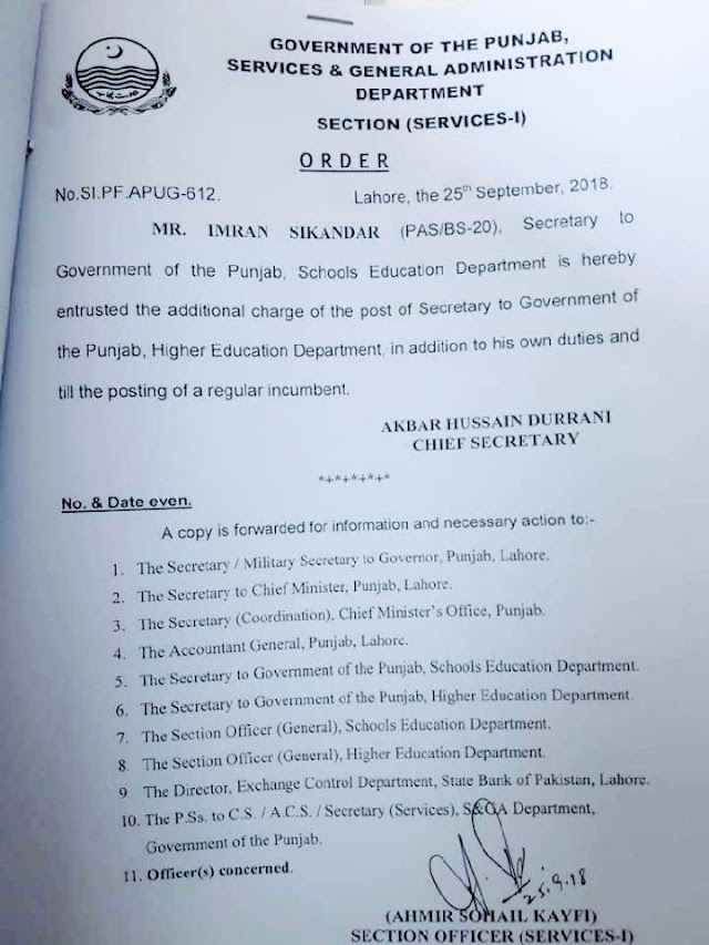 ADDITIONAL CHARGE OF THE POST OF SECRETARY HIGHER EDUCATION DEPARTMENT TO SECRETARY SCHOOLS EDUCATION DEPARTMENT