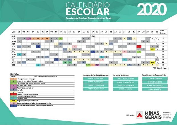 Calendário Escolar 2020 em MG: ano letivo na rede estadual de ensino começa no dia 10 de fevereiro