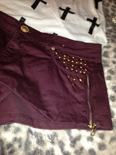 Primark Burgundy Studded Shorts