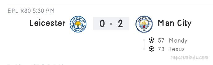 Premier League: Leicester City 0 vs 2 Manchester City