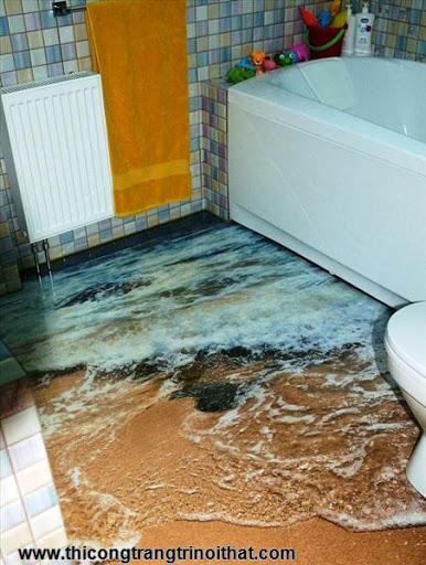 Biến phòng tắm thành đại dương với tranh nghệ thuật 3D đầy ấn tượng - Thi công trang trí nội thất-2