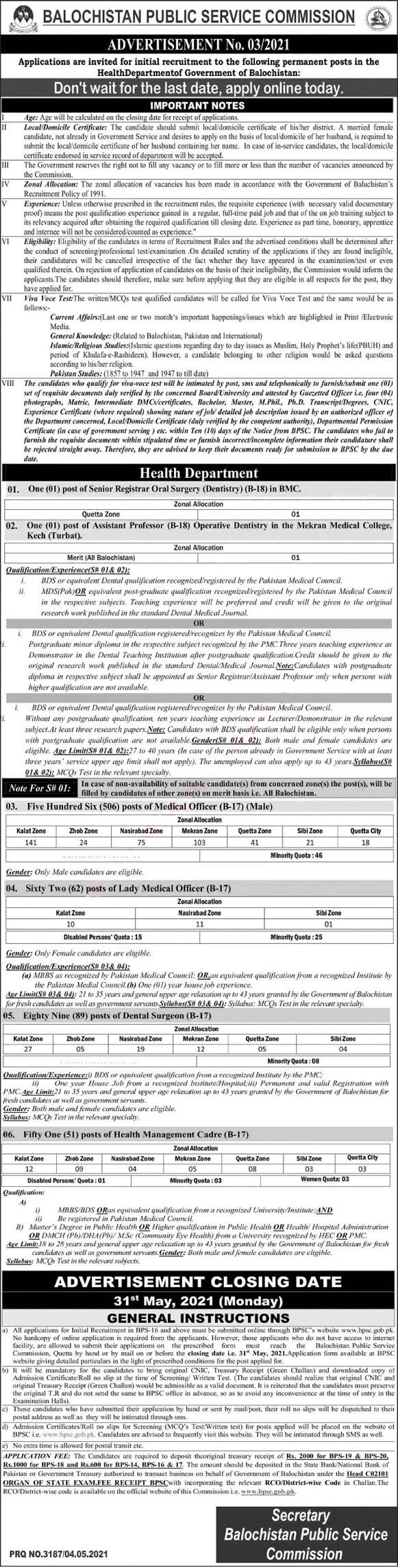 New Jobs in Health Department BPSC Ad No. 032021  Balochistan Public Service Commission BPSC Jobs 2021 by www.newjobs.pk