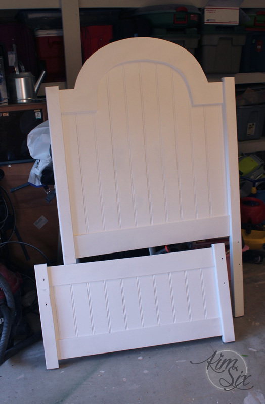 Arched beadboard headboard footboard
