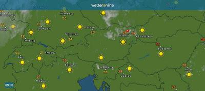 Perfektes Sommerwetter über Österreich, die Wolkenfelder über Niederösterreich und Wien, bringen keinen Regen, sondern lösen sich wieder auf.