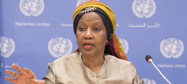 Phumzile Mlambo-Ngcuka, Executive Director of UN Women, briefs on the report entitled Gender Equality in the 2030 Agenda for Sustainable Development. Photo: Eskinder Debebe / UN Photo